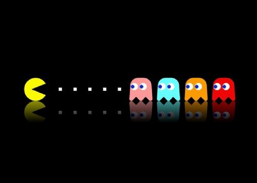 GAMES -  PAC MAN GHOSTS canvas print - self adhesive poster - photo print